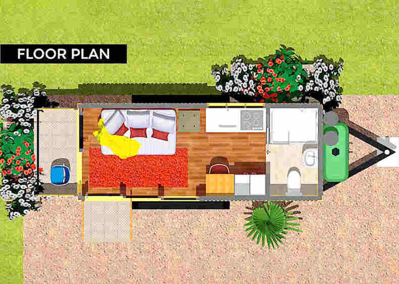 Tiny Container House on Wheels plan