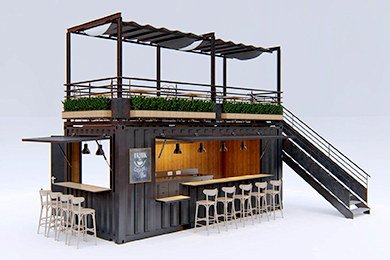 Shipping Container Bar With Terrace