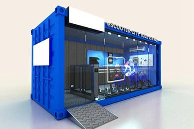 shipping container showroom